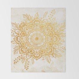 Queen Starring of Mandala-Gold Sunflower II Throw Blanket
