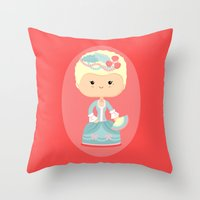 marie antoinette Throw Pillows featuring Marie Antoinette by Sombras Blancas Art & Design