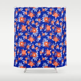 Florida floral orange and blue gators swamp varsity minimal university sports football fan Shower Curtain
