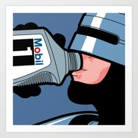 the secret life of heroes Art Prints featuring The secret life of heroes - Robot Drink by Greg Guillemin