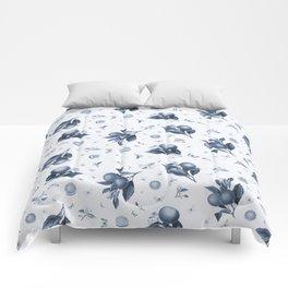 Porcelain Blue Butterflies and Citrus Comforters