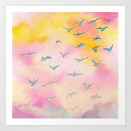 Sunset Birds Art Print