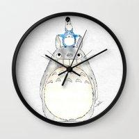 studio ghibli Wall Clocks featuring Ghibli  by Joan Pons