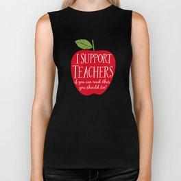 I Support Teachers (apple) Biker Tank