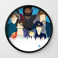 movies Wall Clocks featuring Finding Junior (Faces & Movies) by Alain Bossuyt