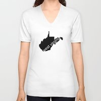 virginia V-neck T-shirts featuring West Virginia by Isabel Moreno-Garcia
