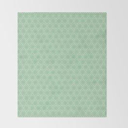 green Japanese Hemp Kimono Pattern Tie Dye Bitta Throw Blanket