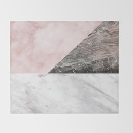 Smokey marble blend - pink and grey stone Throw Blanket