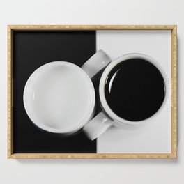 Yin & Yang, coffee and milk in Cups Serving Tray