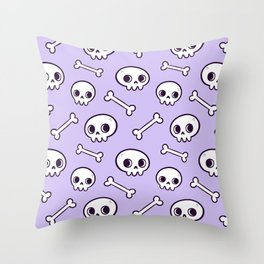 Cute Skulls // Purple Throw Pillow