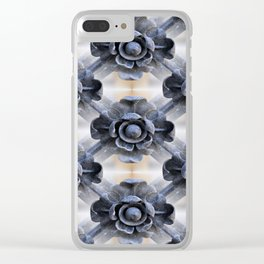 Wrought Iron Trellis Flowers Clear iPhone Case