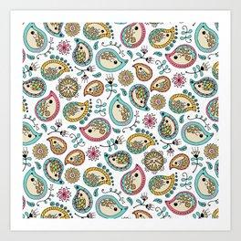 Hedgehog Paisley_Colors and White Art Print