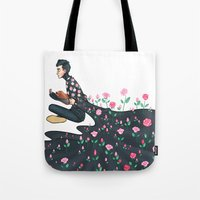 tyler spangler Tote Bags featuring Flowering Tyler by poweredbycokezero