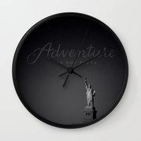 adventure is out there Wall Clocks featuring Adventure.. by pinkundaztood