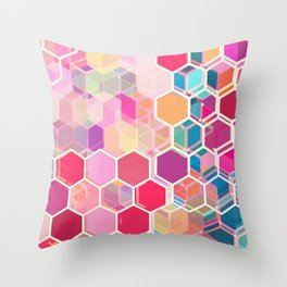 Rainbow Honeycomb - colorful hexagon pattern Throw Pillow
