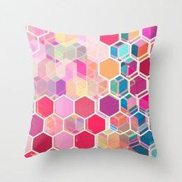Rainbow Honeycomb - colorful hexagon pattern Throw Pillow