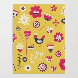 Scandi Floral Yellow Poster