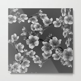 CHARCOAL GREY GARDEN  FRUIT TREES FLOWERS Metal Print