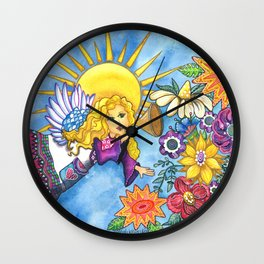 Angelic Flowers Wall Clock