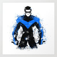 nightwing Art Prints featuring Nightwing by fouur