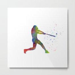 Watercolor baseball player Metal Print
