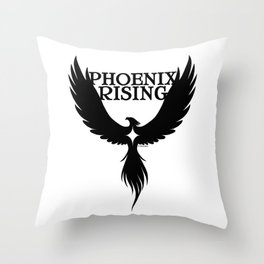 PHOENIX RISING black with star center Throw Pillow