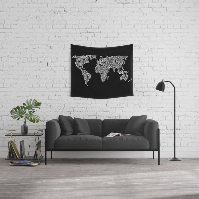 White on Black World Map Wall Tapestry