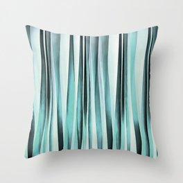 Cyan Blue Ocean Stripey Lines Pattern Throw Pillow