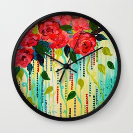 ROSE RAGE Stunning Summer Floral Abstract Flower Bouquet Feminine Pink Turquoise Lime Nature Art Wall Clock