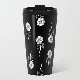 Linocut floral Rose pattern flowers carving printmaking Travel Mug