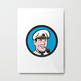 Smiling Sea Captain Smoking Pipe Circle Retro Metal Print