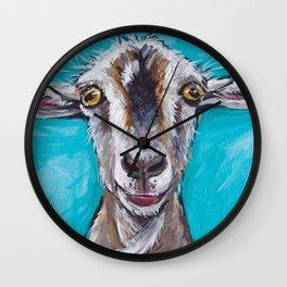 Goat Art, Colorful Farm Animal Wall Clock