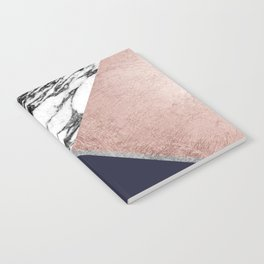 Marble Rose Gold Navy Blue Triangle Geometric Notebook