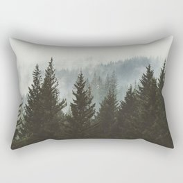 Forest Fog Mountain IV - Wanderlust Nature Photography Rectangular Pillow