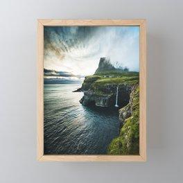 waterfall at faroe Framed Mini Art Print