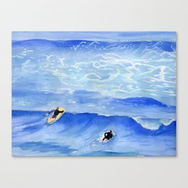 Getting ready to take this wave surf art Canvas Print