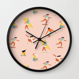 Skateboarding in California of 70s Wall Clock