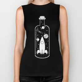 Space Ship in a Bottle Biker Tank