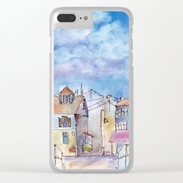 Colorful houses with little lamps in old town Clear iPhone Case