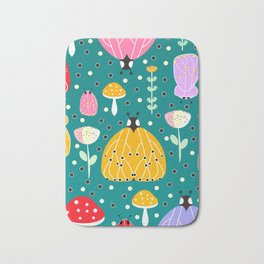 Bugs and mushrooms Bath Mat