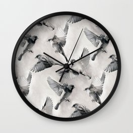 Sparrow Flight - monochrome Wall Clock