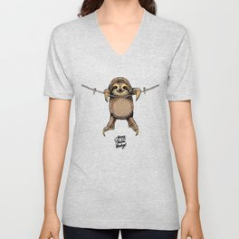 Hang in There Baby Sloth Unisex V-Neck