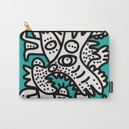 Green Acqua Street Art Black and White Creatures Carry-All Pouch