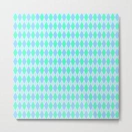 Turquoise Blue Argyle Pattern Metal Print