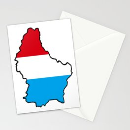 Luxembourg Map with Luxembourger Flag Stationery Cards