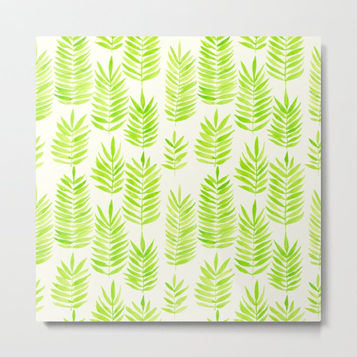 Watercolor tropical leaves in green Metal Print