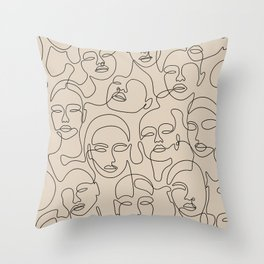 Crowded Girls In Beige Throw Pillow