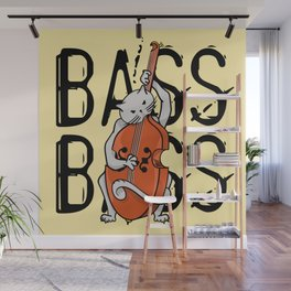 Cat Playing A Double Bass Wall Mural