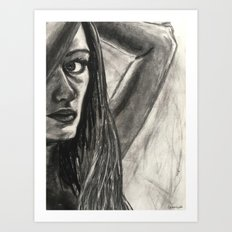 Black and white portrait of a woman Art Print