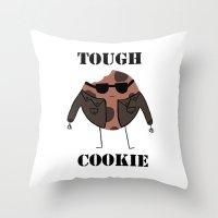 rileigh smirl Throw Pillows featuring Tough Cookie by Rileigh Smirl